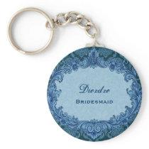 Bridesmaid Wedding Favor Blue Vintage Damask G303 Keychain