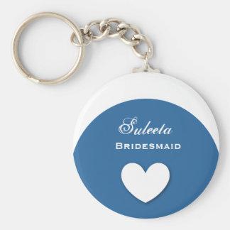 Bridesmaid Wedding Favor Blue with Heart A01 Keychain