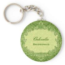 Bridesmaid Wedding Favor Lime Green Damask G306 Keychain