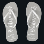 "Bridesmaid Wedding Favor Name or Monogram Grey Flip Flops<br><div class=""desc"">Surprise your bridesmaids with this stylish custom name or monogram thank you/wedding favor gift. **The Background color can be changed to match your wedding colors** Just click on customize it and then the small eye dropper. Add your Bridesmaid"