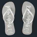 """Bridesmaid Wedding Favor Name or Monogram Grey Flip Flops<br><div class=""""desc"""">Surprise your bridesmaids with this stylish custom name or monogram thank you/wedding favor gift. **The Background color can be changed to match your wedding colors** Just click on customize it and then the small eye dropper. Add your Bridesmaid's name or monogram to make this a special gift just for her....</div>"""