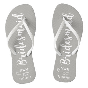 9b5967412 Bridesmaid Wedding Favor Name or Monogram Grey Flip Flops