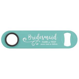 Bridesmaid Wedding Favor Name or Monogram Script Bar Key