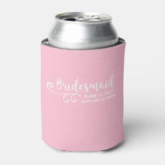 Bridesmaid Wedding Favor Name or Monogram Script Can Cooler