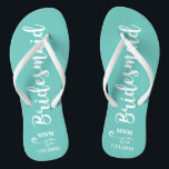 "Bridesmaid Wedding Favor Name or Monogram Script Flip Flops<br><div class=""desc"">Surprise your bridesmaids with this stylish custom name or monogram thank you/wedding favor gift. **The Background color can be changed to match your wedding colors** Just click on customize it and then the small eye dropper. Add your Bridesmaid"