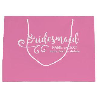 Bridesmaid Wedding Favor Name or Monogram Script Large Gift Bag