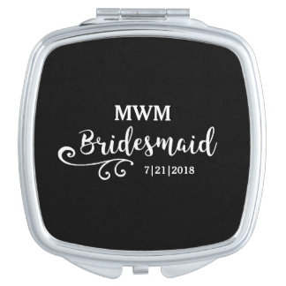 Bridesmaid Wedding Favor Name or Monogram Script Makeup Mirror