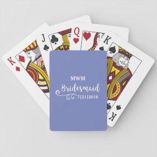 Bridesmaid Wedding Favor Name or Monogram Script Playing Cards