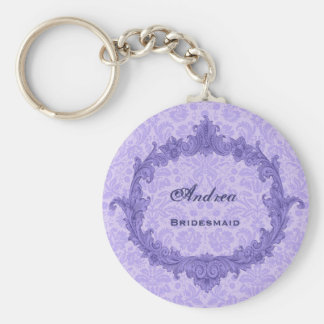 Bridesmaid Wedding Favor Purple Damask Vintage G30 Key Chain