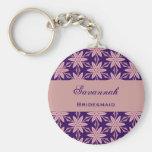 Bridesmaid Wedding Favor Purple Star Flowers V028 Key Chains