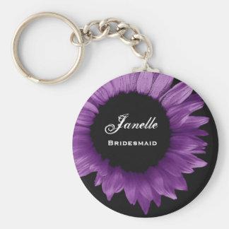 Bridesmaid Wedding Favor Purple Sunflower B035 Basic Round Button Keychain