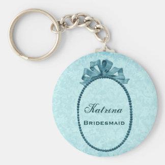 Bridesmaid Wedding Favor Vintage Aqua Bow B032B Keychain