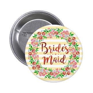 Bridesmaid Wedding Floral Watercolor Stripes Cute Pinback Button