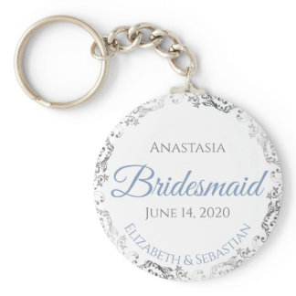 Bridesmaid Wedding Gift Light Blue & Gray Lacy Keychain
