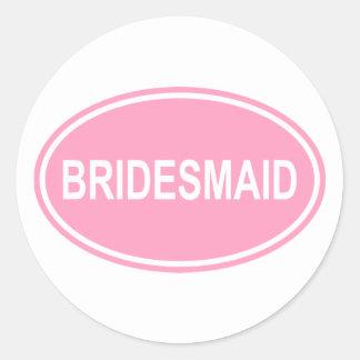 Bridesmaid Wedding Oval Pink Classic Round Sticker
