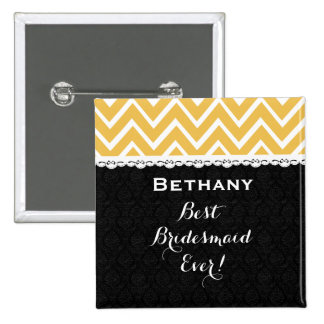 Bridesmaid Wedding Party CHEVRONS Lace A06 GOLD Pinback Button