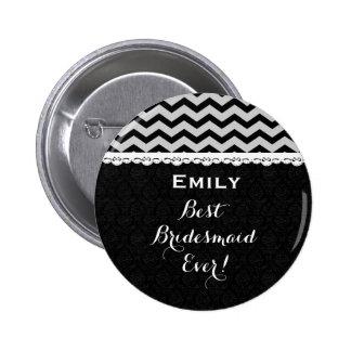 Bridesmaid Wedding Party CHEVRONS Lace V13C SILVER Button