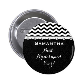 Bridesmaid Wedding Party CHEVRONS Lace V13D Pinback Button