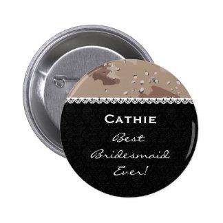Bridesmaid Wedding Party DESERT CAMO Lace V14 Pinback Button