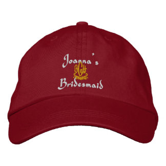 Bridesmaid Wedding Red Embroidered Hats