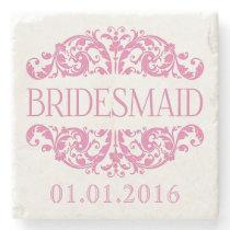 Bridesmaid wedding stone coasters Save the Date