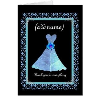 BRIDESMAID Wedding Thank You - Blue Gown Lace Trim Card