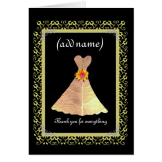 BRIDESMAID Wedding Thank You - Gold Gown Lace Trim Greeting Cards