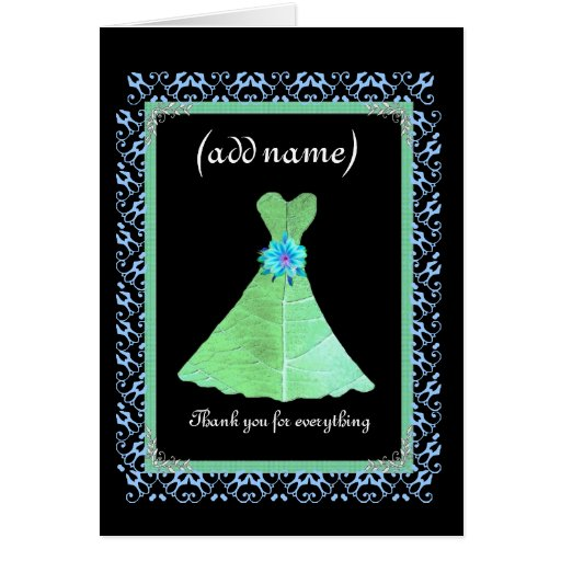BRIDESMAID Wedding Thank You - Mint Green Gown Card