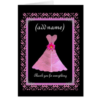 BRIDESMAID Wedding Thank You - PINK Gown Cards