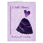 Bridesmaid Wedding Thank You - PURPLE Gown Card