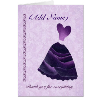 Bridesmaid Wedding Thank You - PURPLE Gown Stationery Note Card