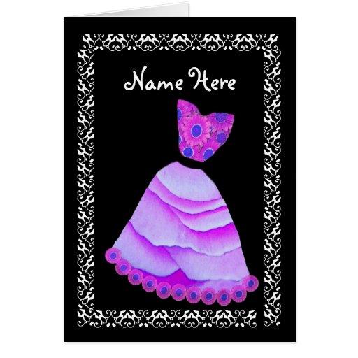 BRIDESMAID Wedding Thank You PURPLE Gown Card