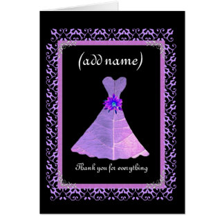 BRIDESMAID Wedding Thank You - PURPLE Gown Greeting Card