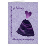 BRIDESMAID Wedding Thank You - PURPLE Gown S341 Card