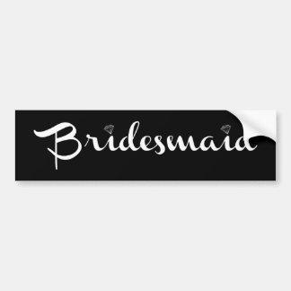 Bridesmaid White on Black Car Bumper Sticker