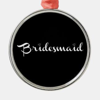 Bridesmaid White on Black Round Metal Christmas Ornament
