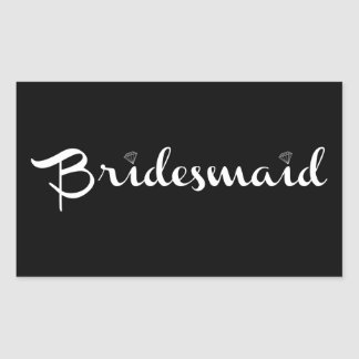 Bridesmaid White on Black Rectangular Sticker