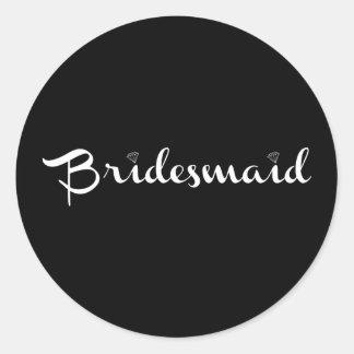 Bridesmaid White on Black Stickers