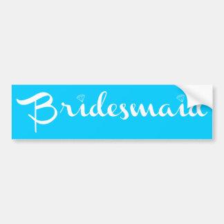 Bridesmaid White on Light Blue Car Bumper Sticker