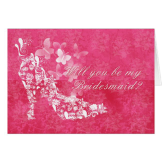 Bridesmaid, will you be my Bridesmaid pink and whi Card