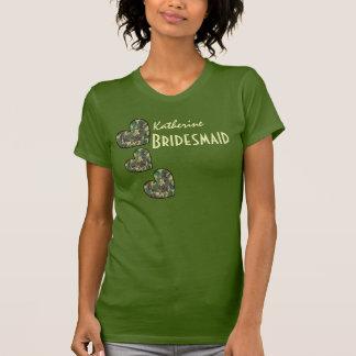 BRIDESMAID with WOODLAND CAMO Patterned Hearts V21 T-Shirt