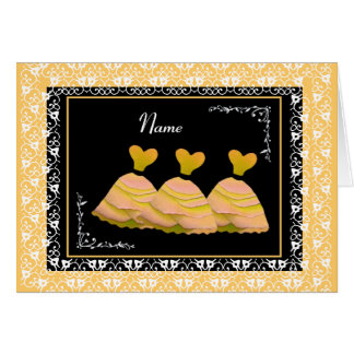 BRIDESMAID - YELLOW Gowns and Lace Trim Greeting Card