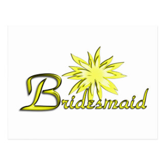Bridesmaid Yellow Postcards