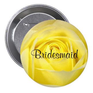 Bridesmaid, Yellow Rose Pinback Button