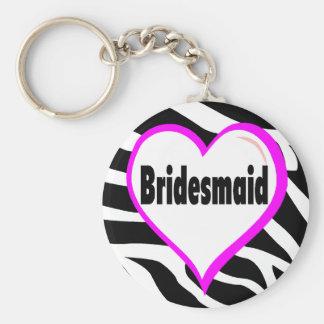 Bridesmaid Zebra Stripes Basic Round Button Keychain