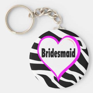 Bridesmaid (Zebra Stripes) Basic Round Button Keychain