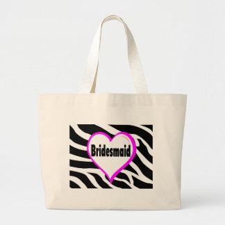Bridesmaid Zebra Stripes Large Tote Bag
