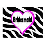 Bridesmaid Zebra Stripes Postcard