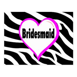 Bridesmaid Zebra Stripes Postcards