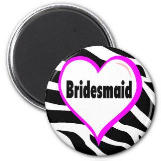 Bridesmaid (Zebra Stripes) Refrigerator Magnets